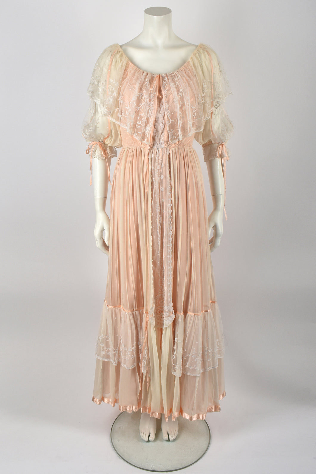 chiffon and lace dress / M