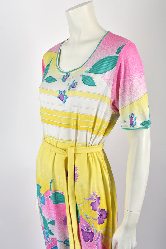 80s cotton dress / M-L