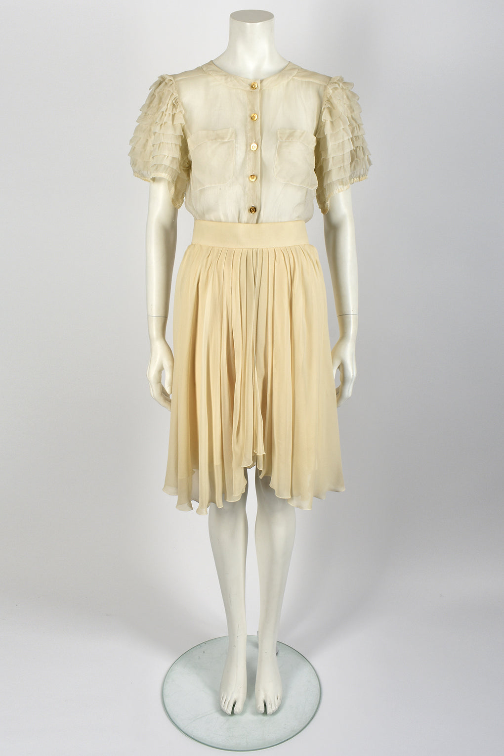 CHANEL frilled silk organza blouse / M-L