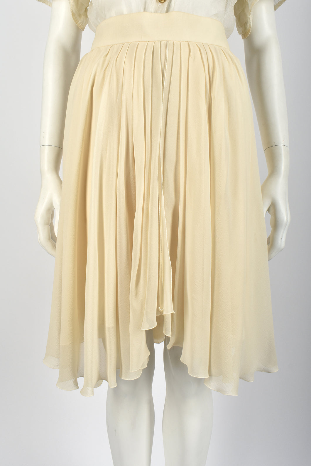CHANEL silk chiffon skirt / M-L