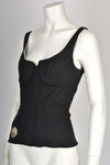 MUGLER denim black 90's corset top