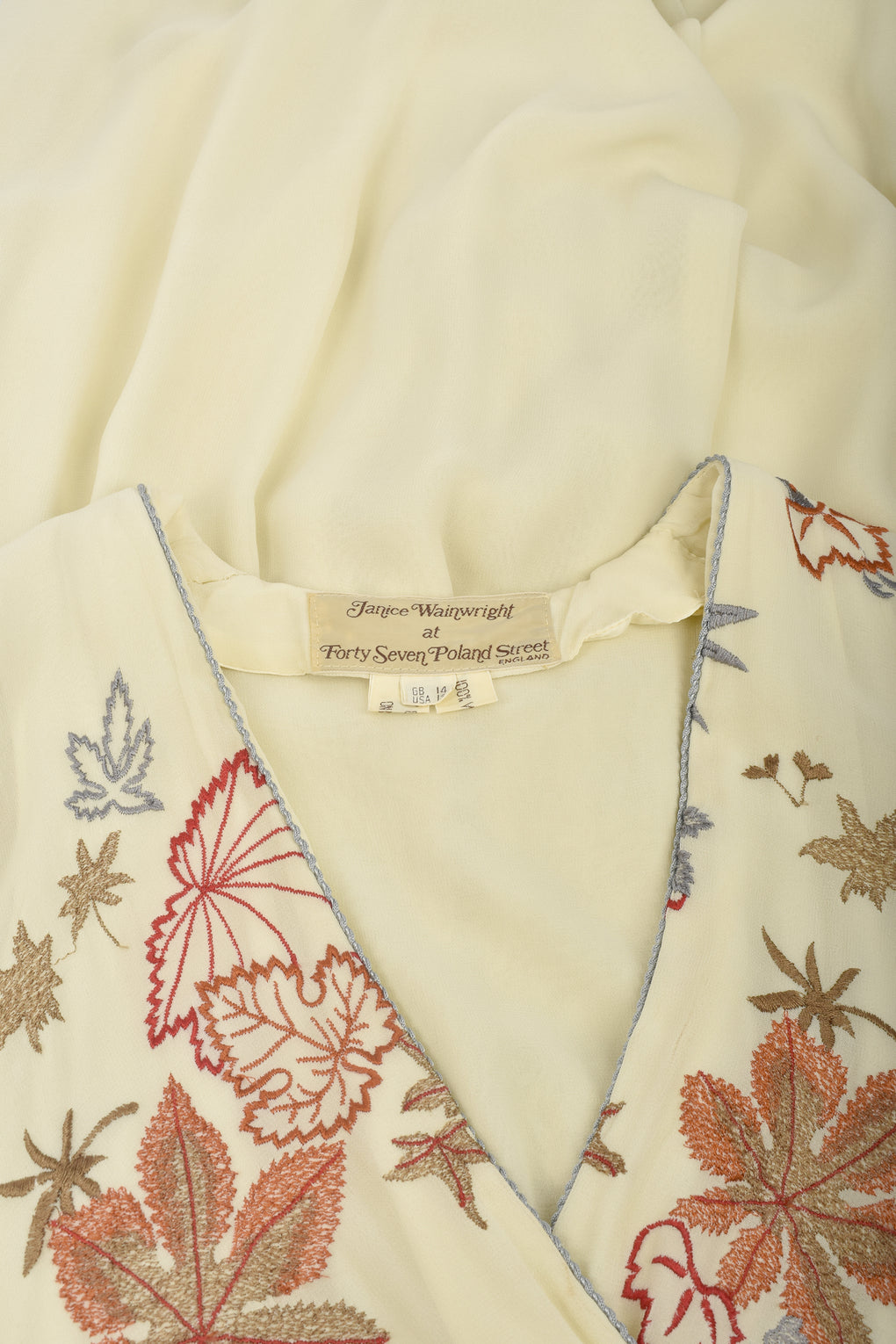 JANICE WAINWRIGHT 70s embroidered gown