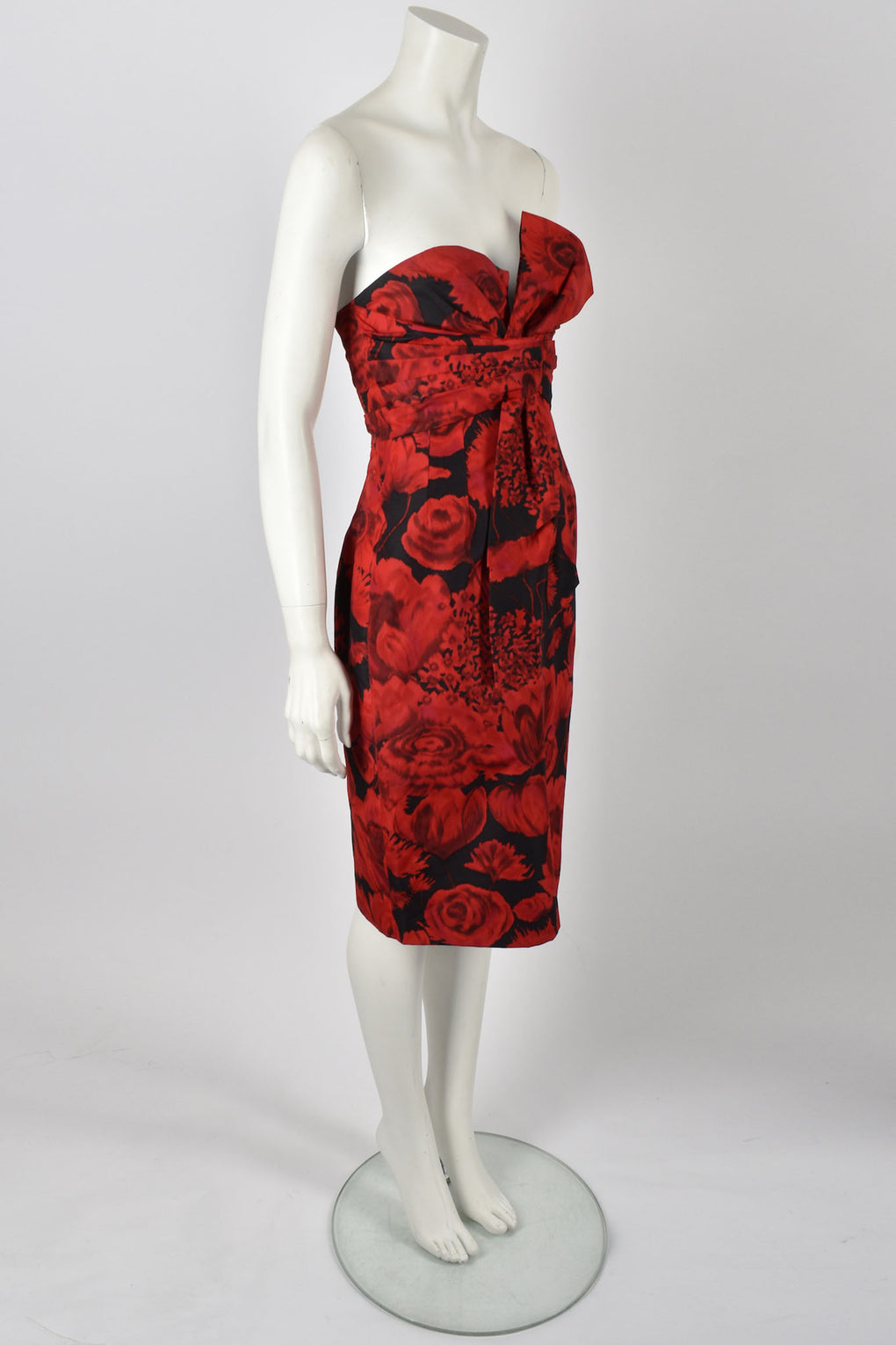 Christian Dior red rose cocktail dress