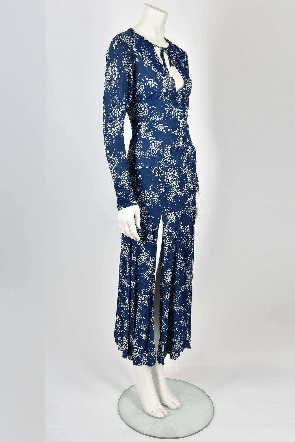 BIBA blue patterned top and skirt set