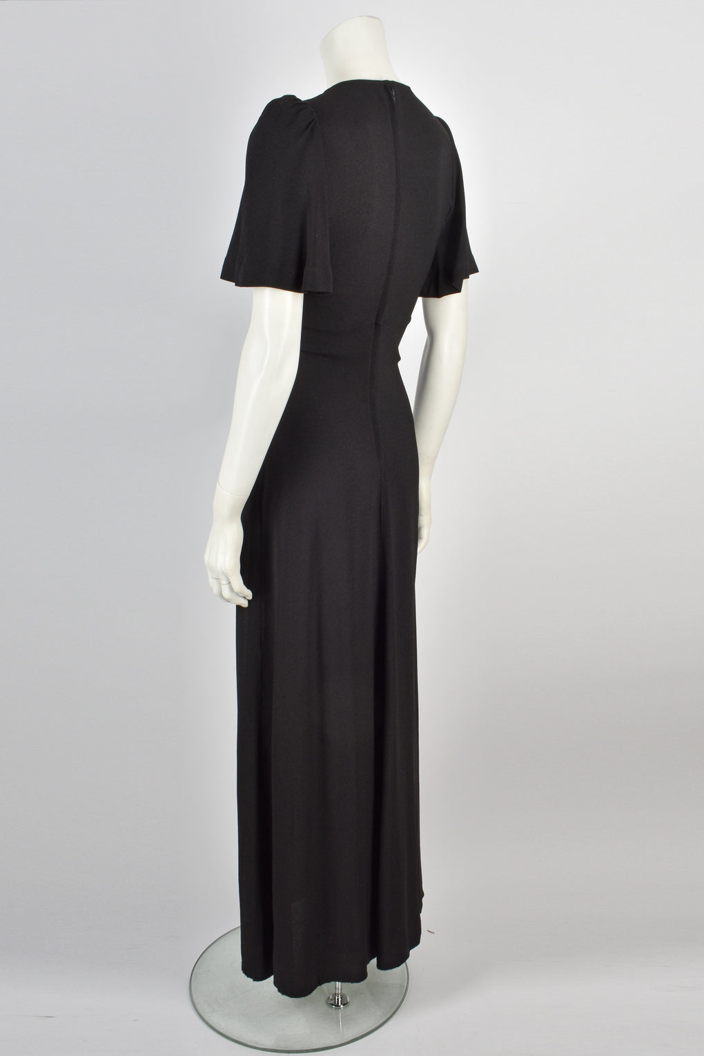 BIBA 1970s black moss crepe dress S