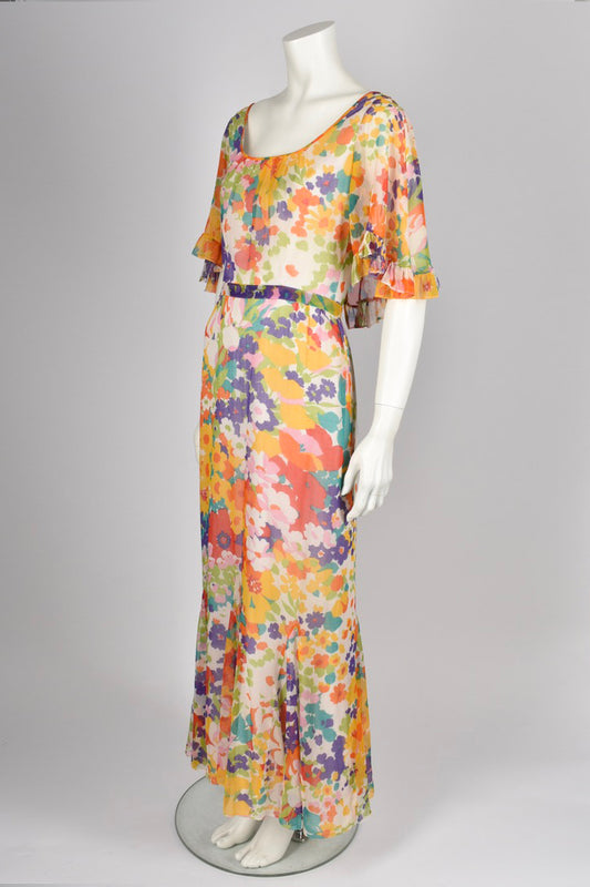 ROBERT DORLAND 70s floral dress / M-L