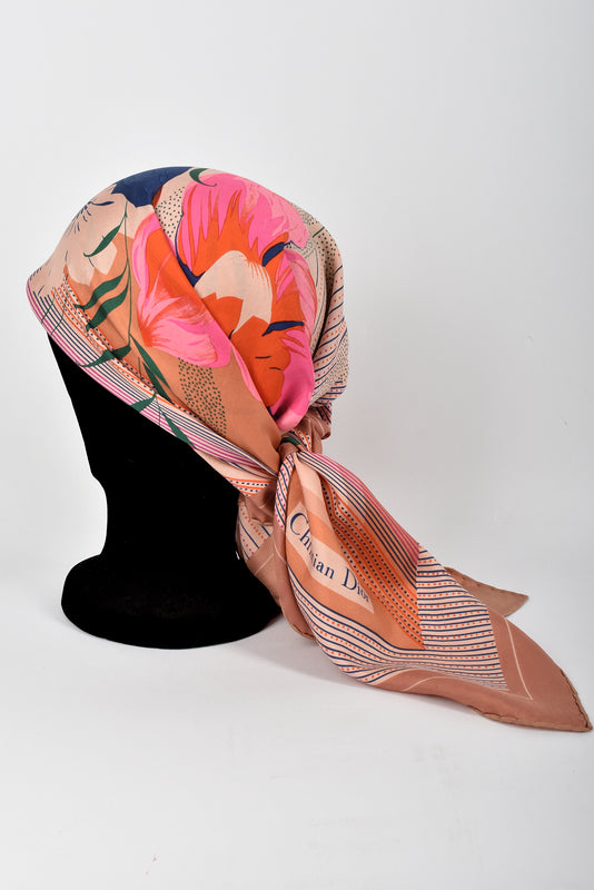 60s floral print silk scarf