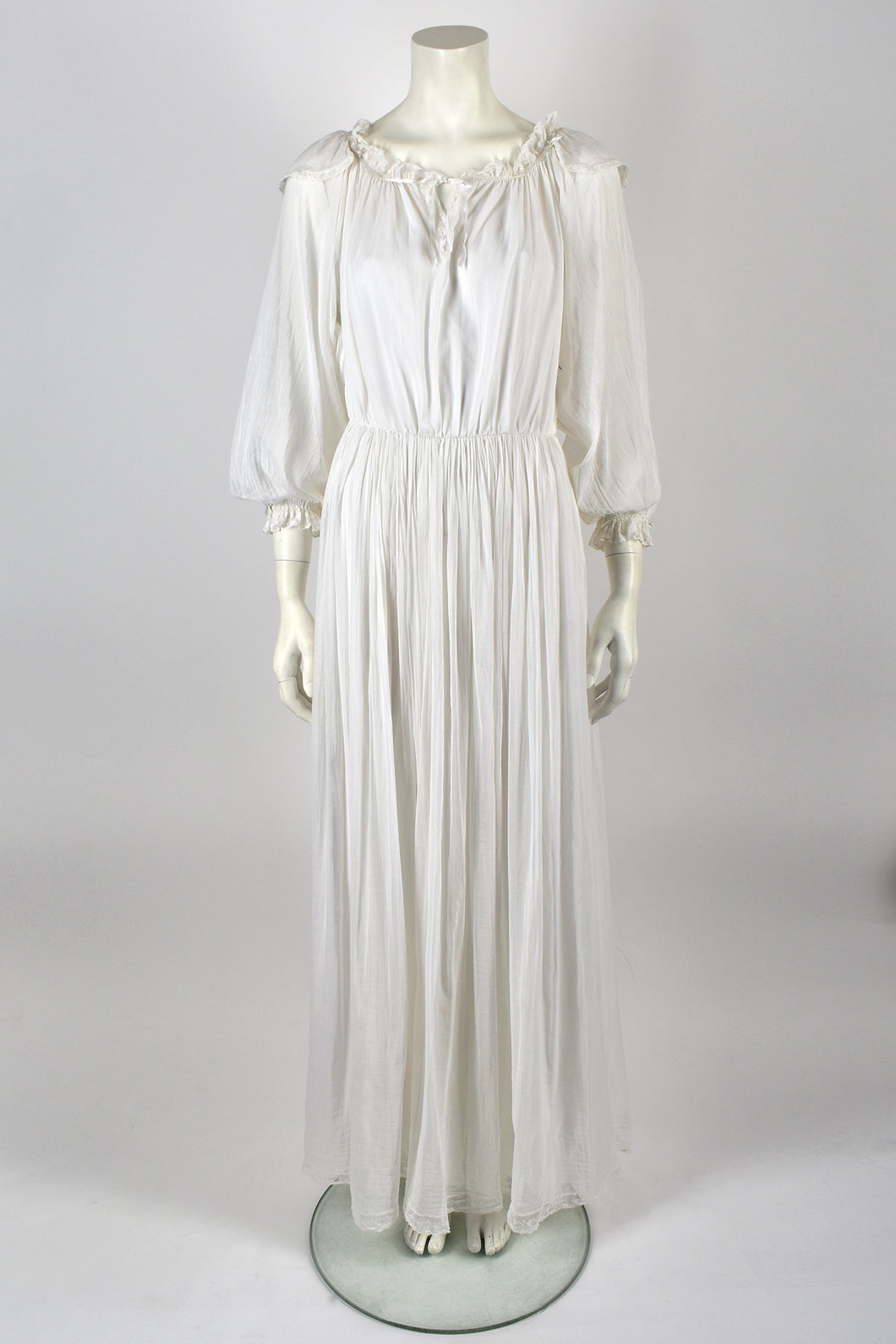 ELIZABETH EMANUEL 70s cotton lace trim dress / M
