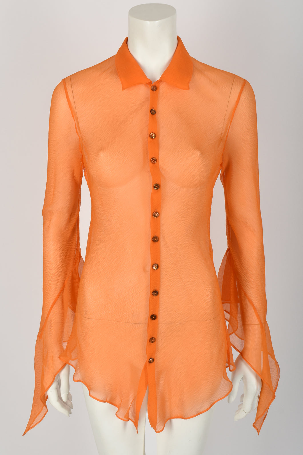 JEAN PAUL GAULTIER silk chiffon shirt with flared sleeves