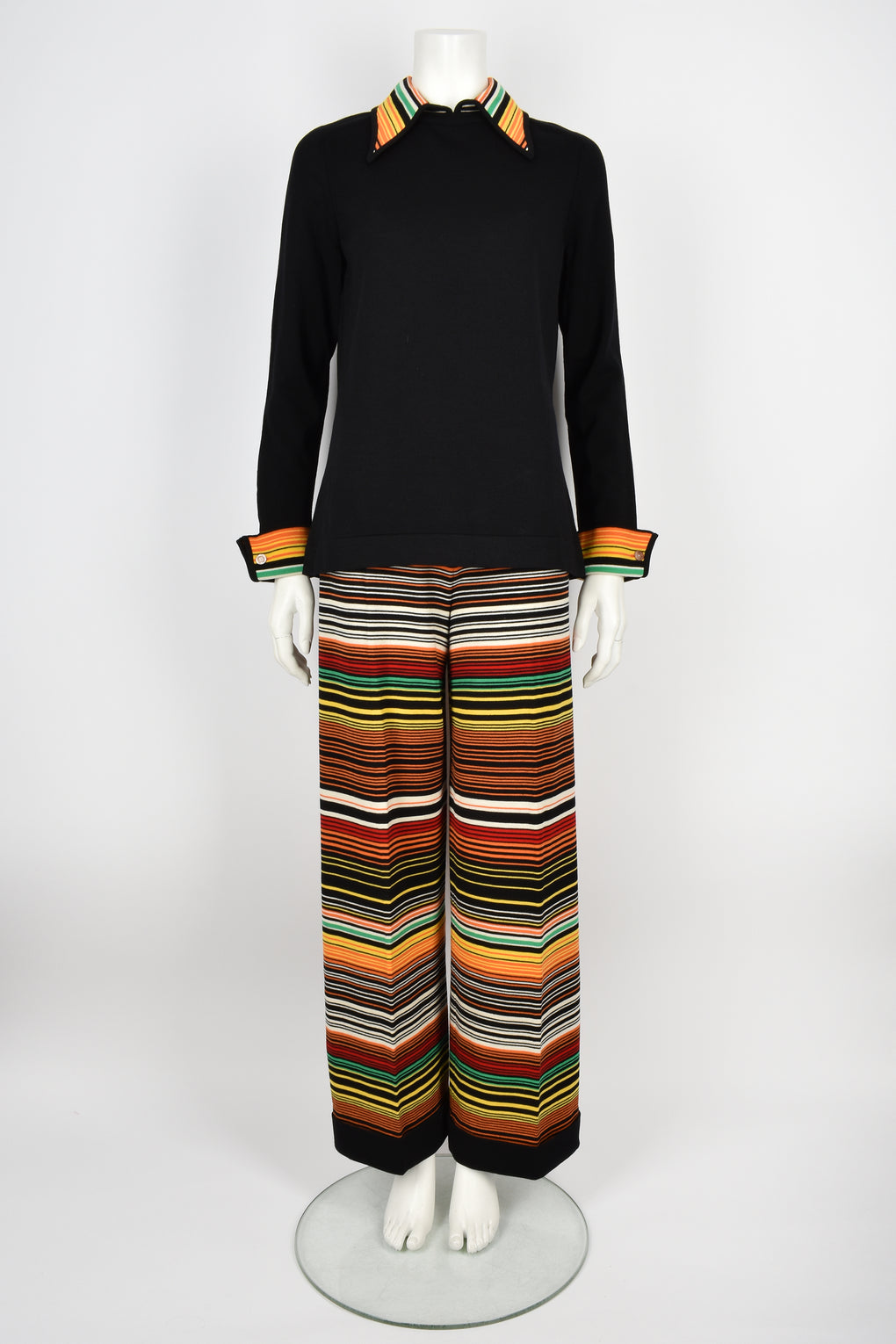 GOLDWORM 60s wool jersey trousers and top set M-L