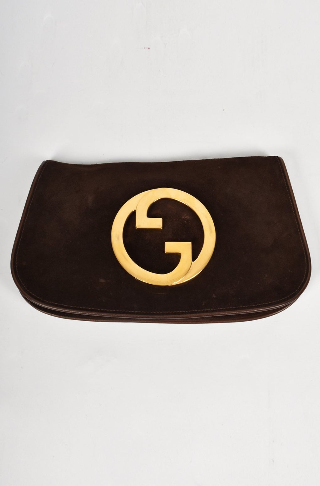 Gucci 70's brown suede clutch bag