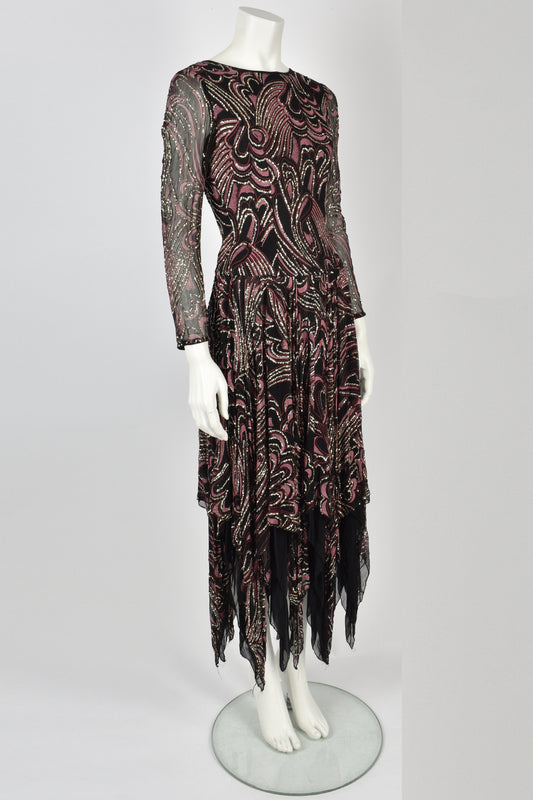 TERENCE NOLDER 70's black glitter dress