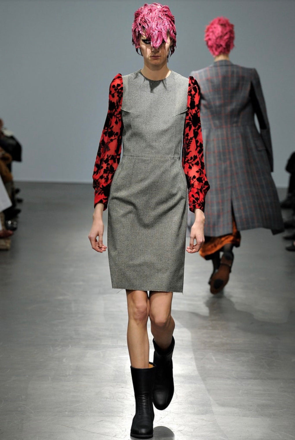 JUNYA WATANABE A/W 12 dogtooth wool dress with devore sleeves L