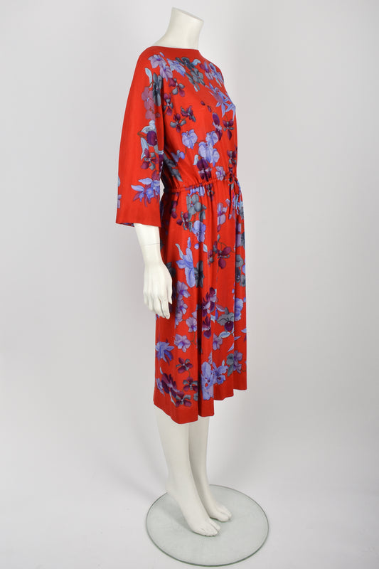 LEONARD PARIS 80s orchids print dress S-L