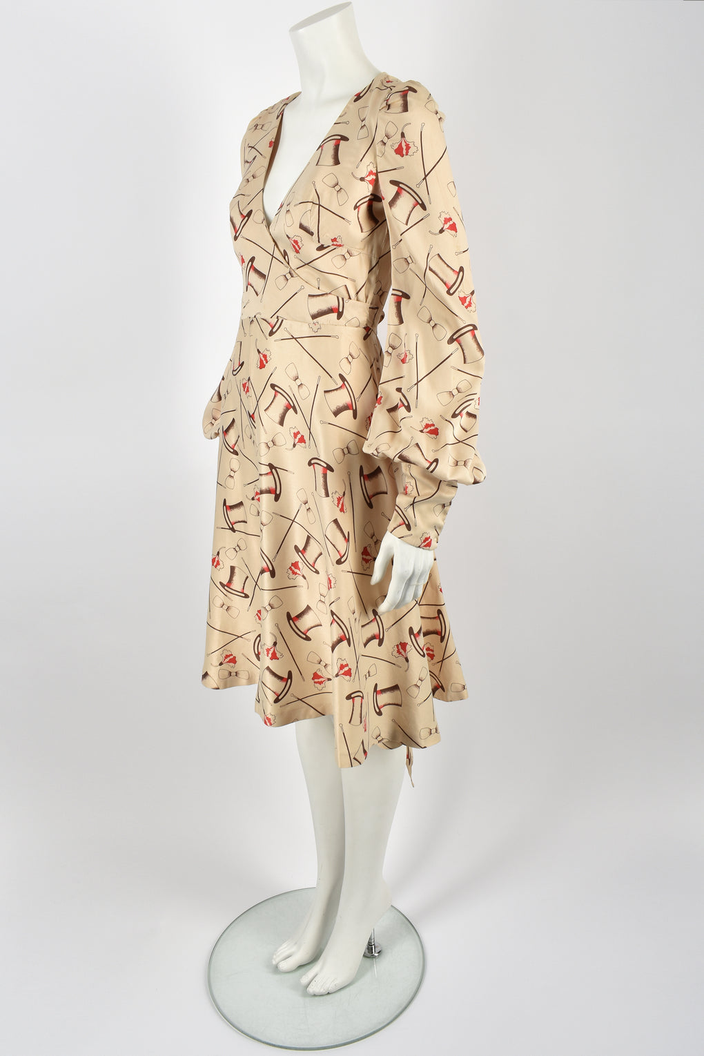 MISS MOUSE attributed 70s novelty print dress S-M