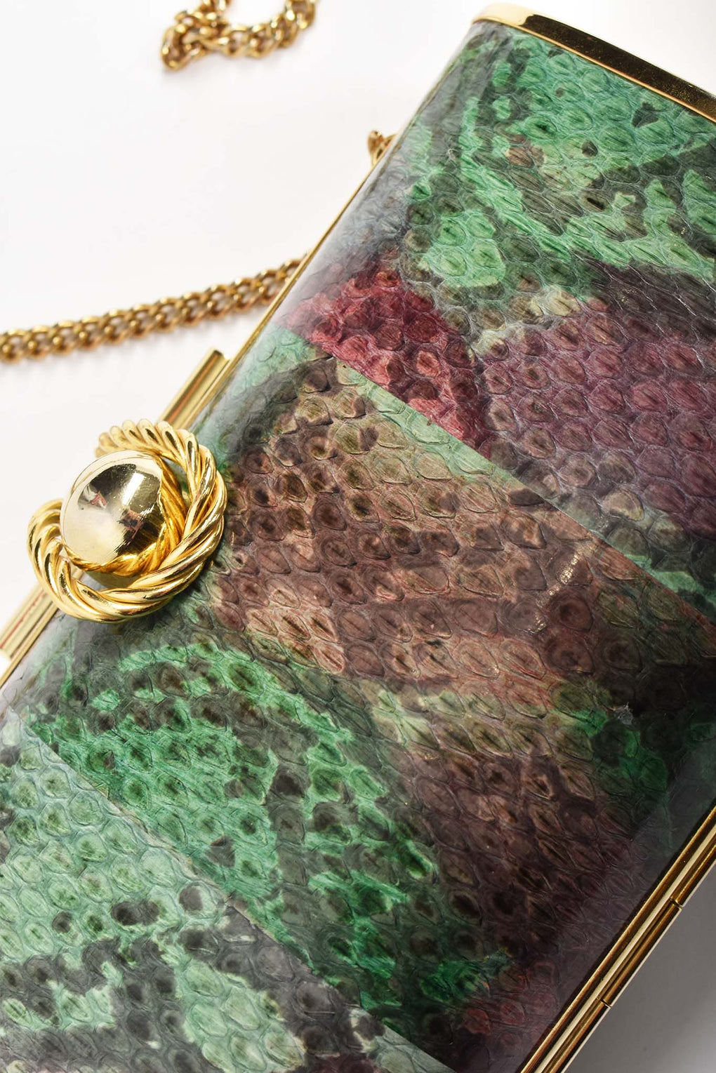 Snakeskin printed 80's clutch bag