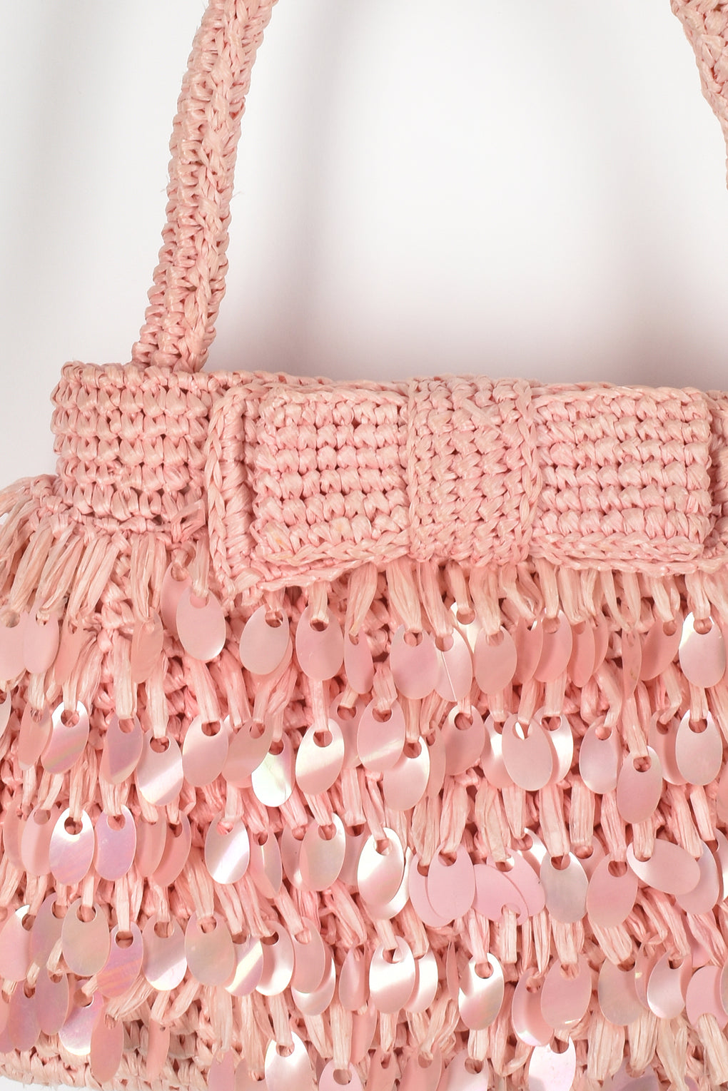 60s raffia sequinned bag