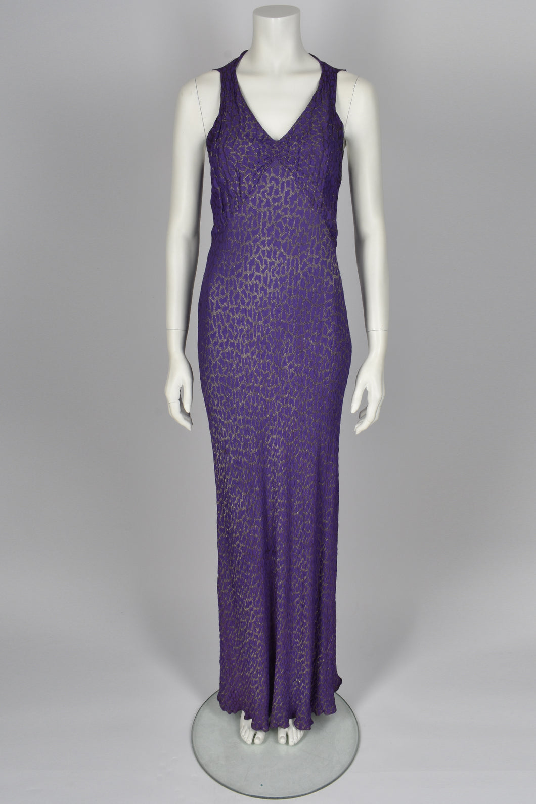 30's Purple deep v leopard gown