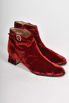 CHARLES JOURDAN red velvet ankle boots