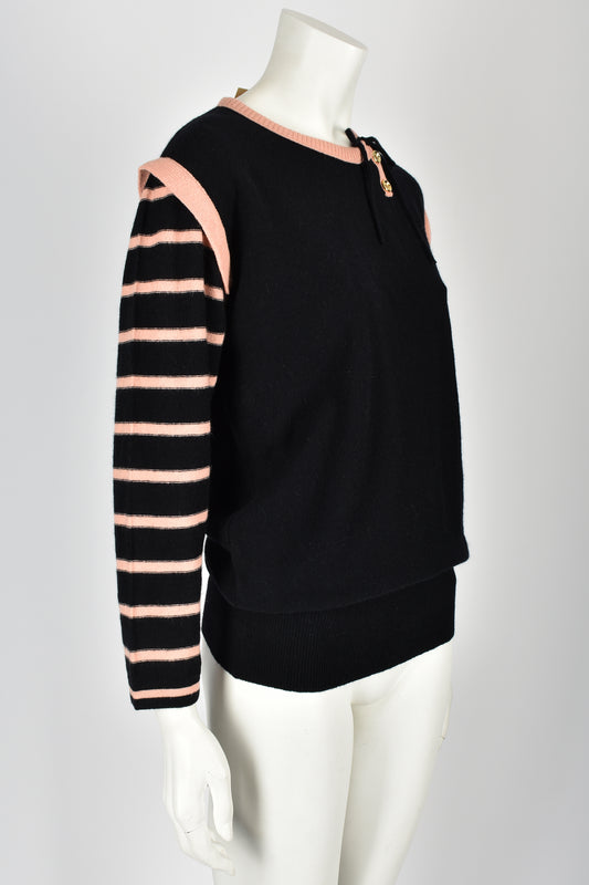 SONIA RYKIEL 70s NOS striped sleeve sweater S-M