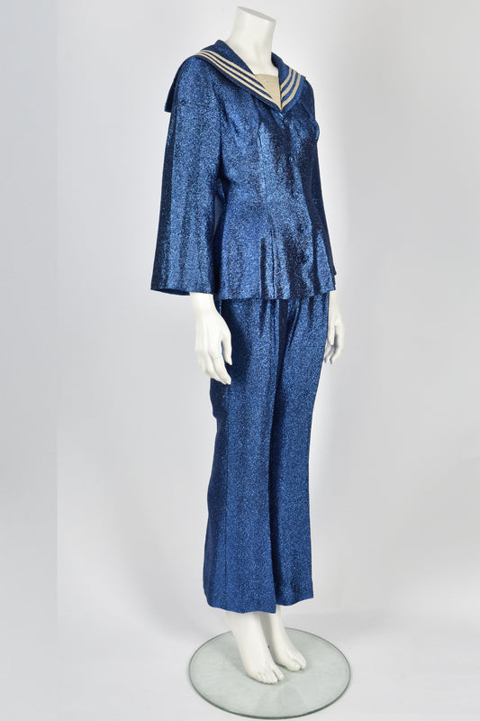 50's blue glitter lurex sailors suit