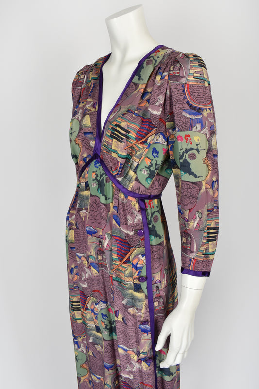 EMANUEL UNGARO 70s novelty art print silk dress M