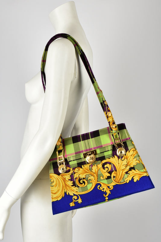 GIANNI VERSACE 80s baroque tartan print shoulder bag