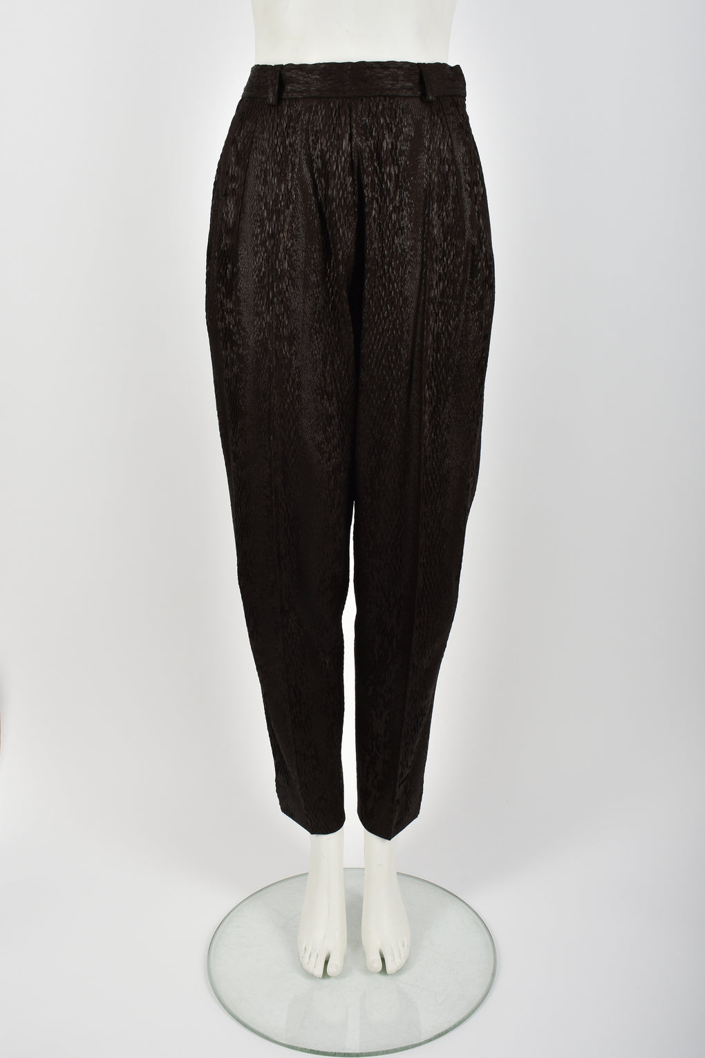 YVES SAINT LAURENT 80s snakeskin 3d textured trousers S