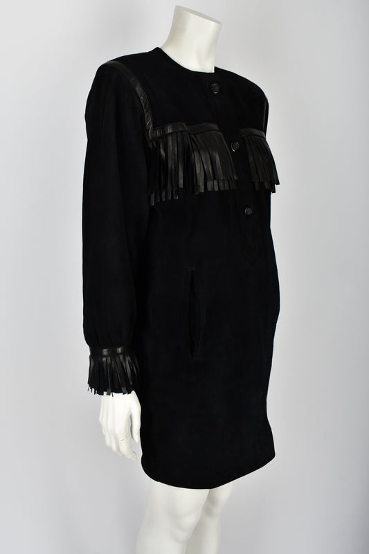 YVES SAINT LAURENT 80s suede leather fringe dress M-L