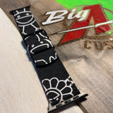 Custom black and white murakami watch strap
