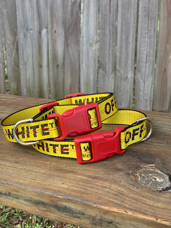"Custom OFF-WHITE dog collar (13""-22"" neck)"