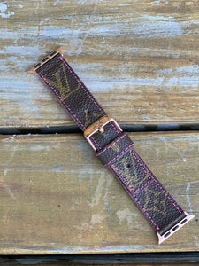 Custom Louis Vuitton Apple Watch band with Pink stitching and edging