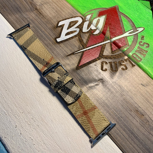 "Custom ""BURBERRY"" Apple Watch strap"