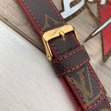 Louis Vuitton Monogram Pattern with Red Edging and Stitching