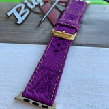 "Custom LV "" PURPLE AND GOLD"" watch strap"