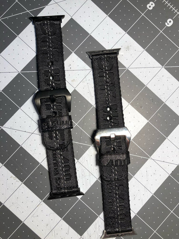 Custom black OFF WHITE Apple Watch strap.