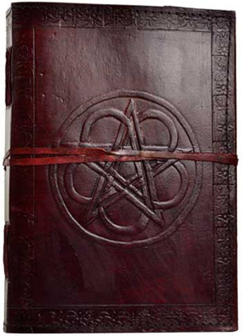 Pentacle Embossed Leather Journal- Cord Closure