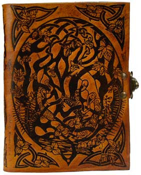 Hand Tooled Leather Journal, Celtic with Foxes & Leaves