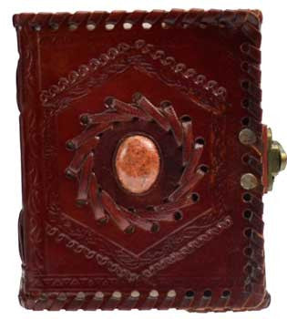 Tooled and embossed Small Journal with Stone Center and Metal Latch