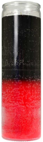 7 Day Black / Red Reversing Glass Novena Style Candle