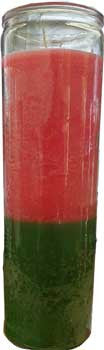 7 Days Pink & Green Glass Novena Style Candle