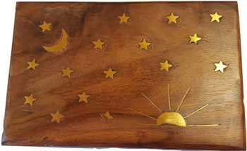 Sun, Moon & Stars Brass Inlay Box