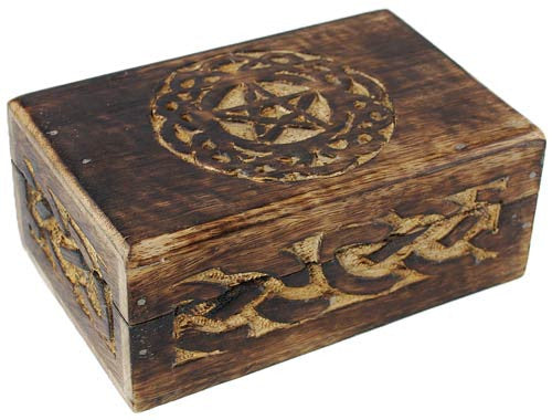 Wax Finished Celtic Pentacle Box