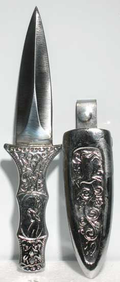 "Silver Finished Boot Jack / Athame 6"" Embossed"