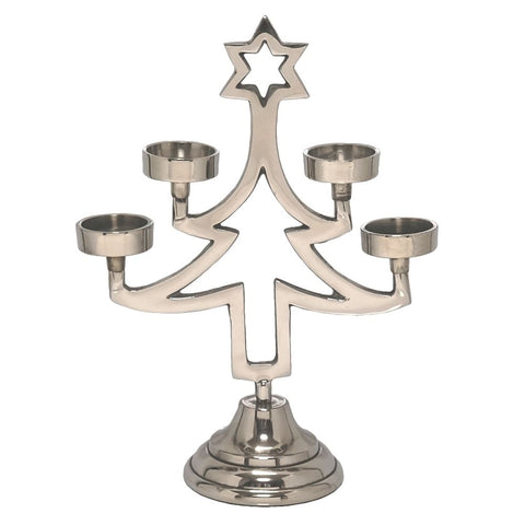CHROME CHRISTMAS TREE TEALIGHT HOLDER