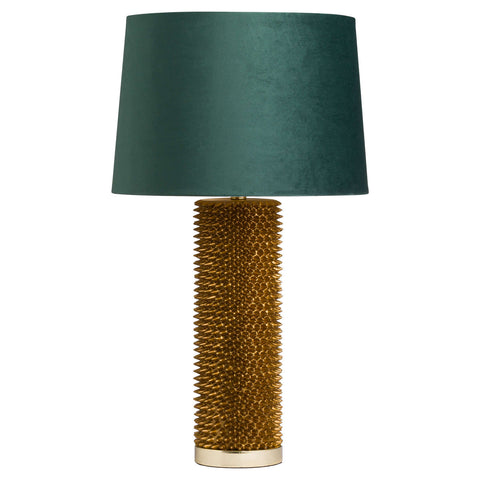 Antique Gold Spike Lamp with Emerald Velvet Shade