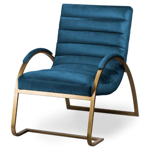Navy And Brass Ribbed Arc Chair