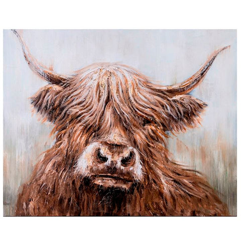 BRUE HIGHLAND COW ON CANVAS