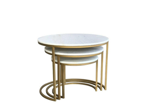 Beth Circular Marble Nest of Tables