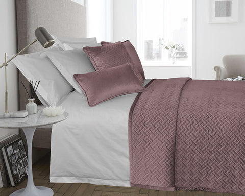 Velvet Padded & Quilted Bedspread in Blush